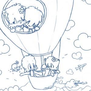 kleurplaat Luchtballonnen (1)