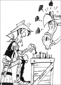 coloring page Lucky Luke plays chess with Jollie
