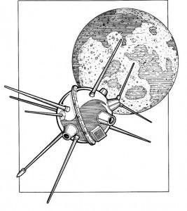 målarbok Luna 2, Ryssland, 1959, kraschade på månen