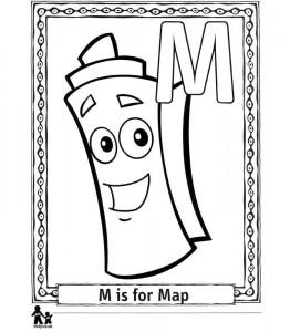 kleurplaat M Map = Landkaart