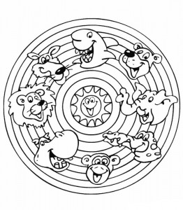 målarfärgade mandala djur