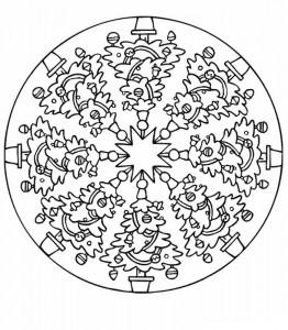 kleurplaat Mandala kerstbomen