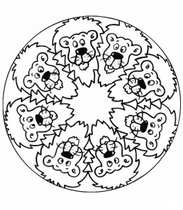 kleurplaat Mandala leeuwen