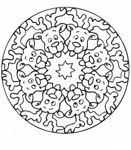 kleurplaat Mandala rendieren