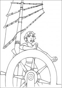 coloring page Marina at the helm