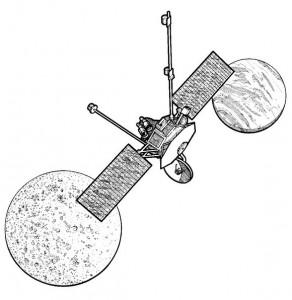 kleurplaat Mariner 10, Mars en Mercurius onderzoekers, 1973