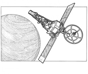 coloring page Mariner 2 Venus bottom pocket, 1962