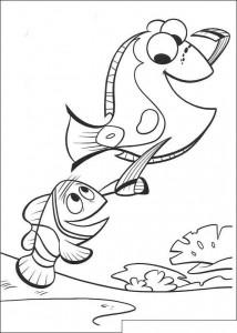 kleurplaat Marlin en Dory (1)