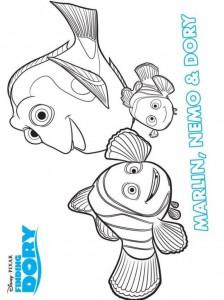 målarbok marlin nemo dory