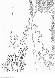 coloring page Lake and forest