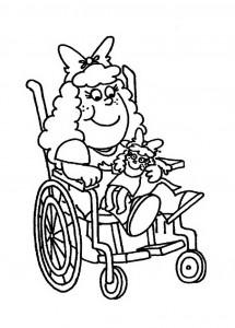 kleurplaat Meisje in rolstoel