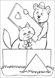 coloring page Mr. Bolle de Beer and the cat