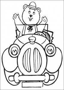 kleurplaat Meneer Bolle de Beer in de auto