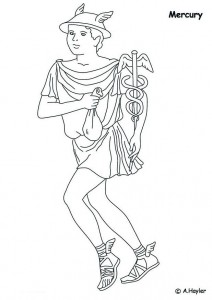 coloring page Mercury, god of commerce, travelers and profit