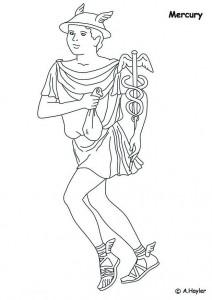 målarbok Merkurius, handelsguden, resenärer och vinst