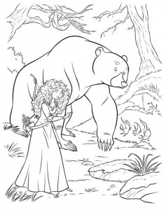 coloring page Merida and the bear 2