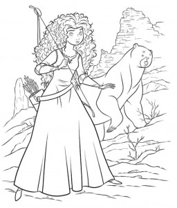 kleurplaat Merida en de beer