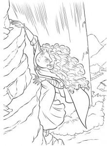 kleurplaat Merida klimt op een rots