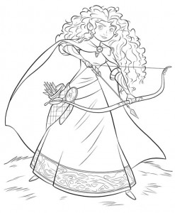coloring Merida with bow and arrow