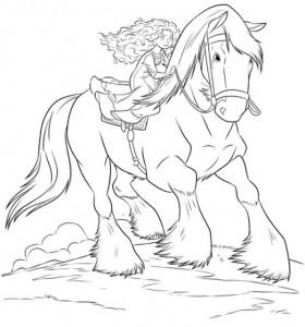 coloring page Merida rides Angus