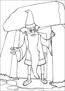 coloring page Merlin, the crazy wizard