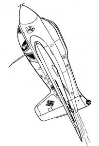 coloring page Messerschmitt 163-B Komet 1944