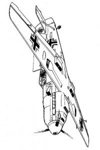 kleurplaat Messerschmitt Bf 109E 1940