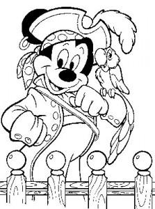 kleurplaat Mickey als piraat