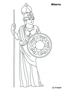 coloring page Minerva, goddess of the mind