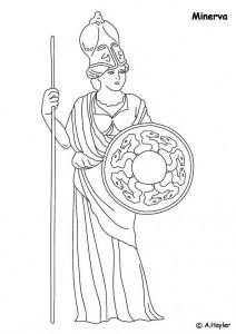 Dibujo para colorear Minerva, diosa de la mente