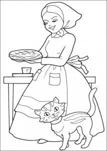 coloring page Mother is baking cake for grandma