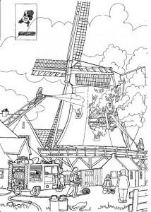 Coloriage Moulin à vent en feu