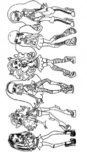 kleurplaat Monster High Girls