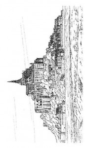 målarbok Mont Saint Michel, Frankrike