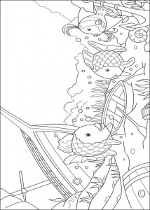 coloring page Most beautiful fish near a wreck