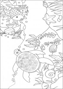 coloring page Most beautiful fish and sea turtle