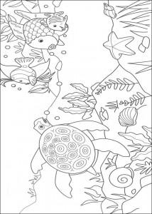 målarbok Vackraste fisk och havssköldpadda
