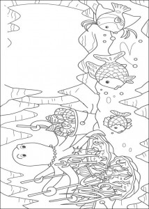 coloring page Most beautiful fish with squid