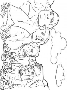 coloring page Mount Rushmore, America