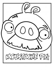 coloring page mustache pig