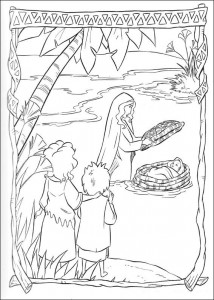 coloring page Moses in the rush basket