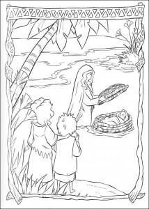 kleurplaat Mozes in het biezen mandje