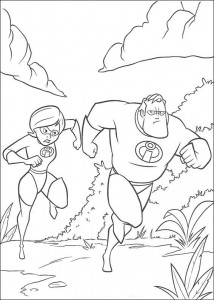 coloring page and Mrs. Incredible