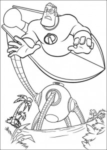 coloring page Incredible and Omnidroid