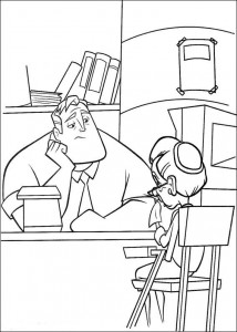 coloring page Incredible at the office