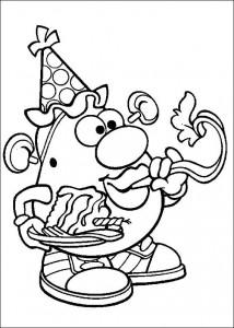 kleurplaat Mr. Potato Head feest
