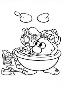 boyama sayfası Banyoda patates kafa