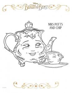 målarbok mrs potts chip