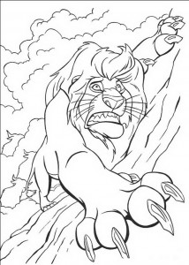 coloring page Mufasa glides down to the bison