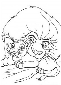 coloring page Mufasa rescues Simba